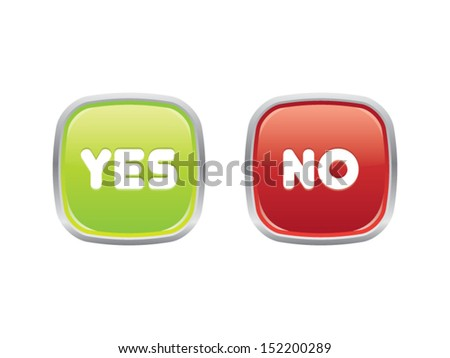 Yes or No Buttons - stock vector