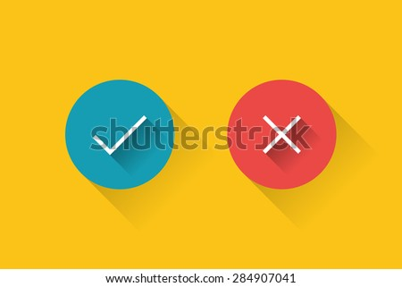 yes or no circle icons. - stock vector