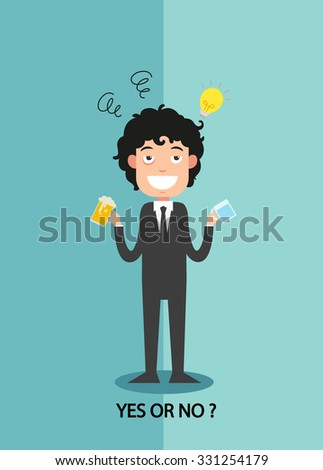 yes or no for businessmen work enthusiasm, illustration,vector
