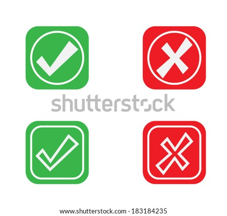 Yes or No Icons, Green and Red Validation button vector