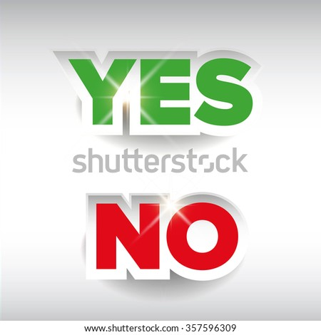 Yes or No label vector - stock vector