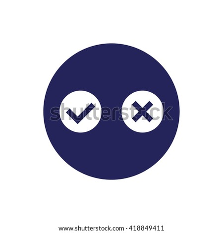 Yes or no vector icon. Blue circle. Blue button
