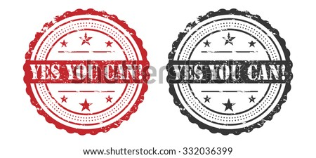 Yes You Can Slogan Over Grunge Stamp / Stamp Icon Art / Stamp Icon Jpeg / Stamp Icon Vector / Stamp Icon Symbol - stock vector