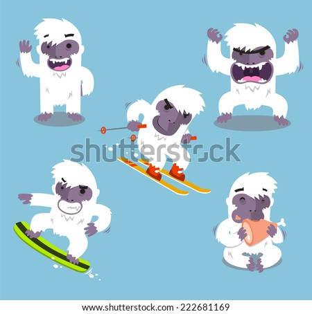 Yeti Cold Winter Set vector illustration - stock vector