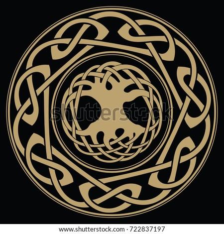 Yggdrasil World Tree Tree Life Norse Stock Vector 722837197