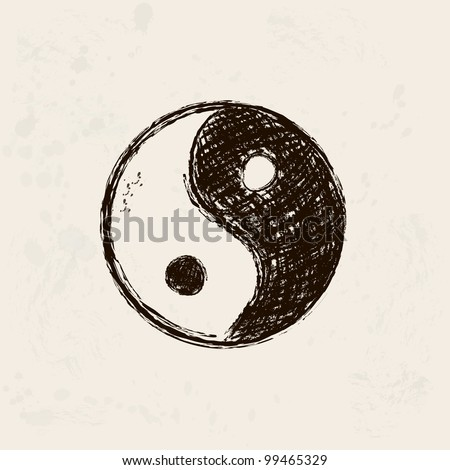 yin and yang artistic hand drawn symbol in grunge background - stock vector