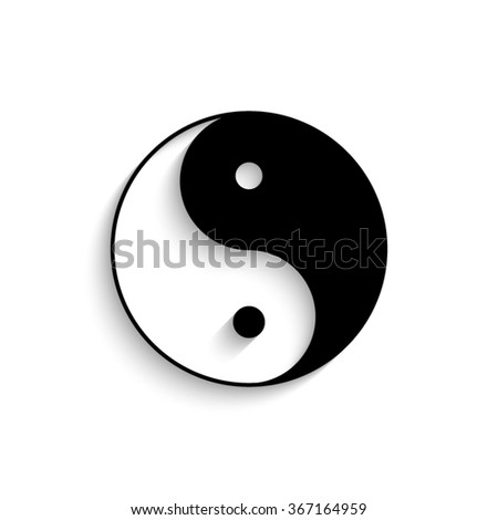 Yin and yang - black vector  icon with shadow - stock vector