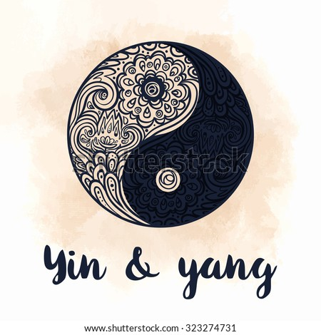 Yin and yang decorative symbol. Hand drawn vintage style design element. Alchemy, spirituality, occultism, textiles art. Vector black  illustration for t-shirt print isolated on beige background. - stock vector