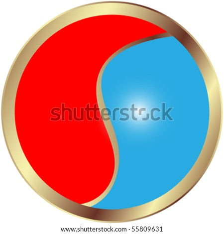 Yin and Yang glossy button - stock vector