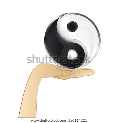 yin and yang harmony in your hand vector illustration