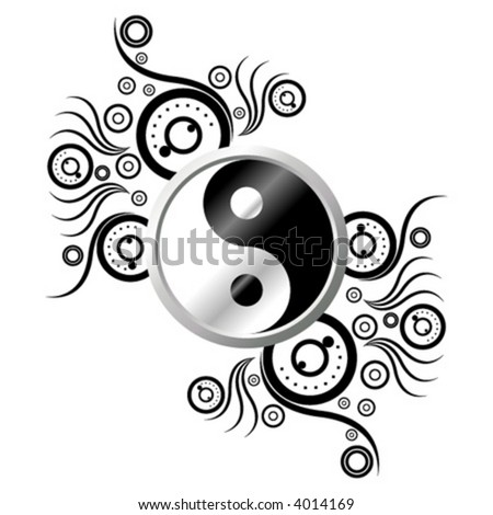 Yin and Yang symbol ornamented with abstract pattern over white background - stock vector
