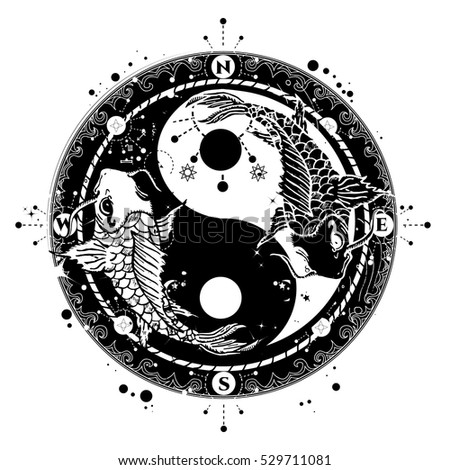 Yin and yang tattoo art vector two japanese carp boho style meditation symbol