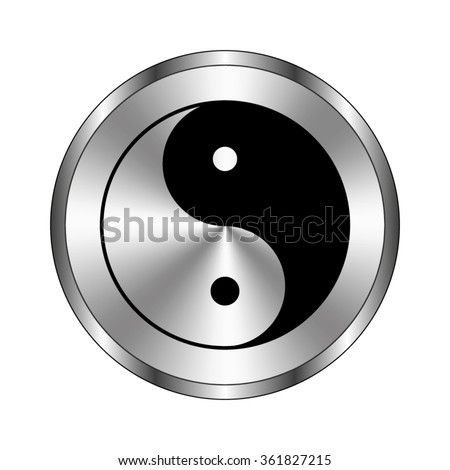 Yin and yang - vector icon;  metal button