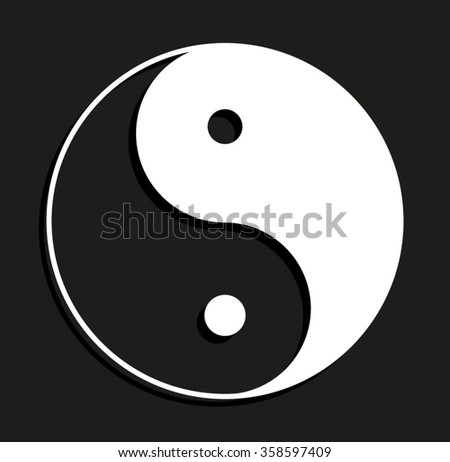 Yin and yang -  vector icon with shadow - stock vector