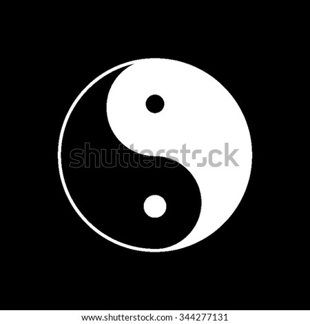 Yin and yang - white vector icon - stock vector