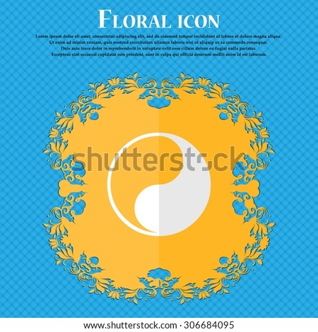 Yin Yang. Floral flat design on a blue abstract background with place for your text. Vector illustration - stock vector