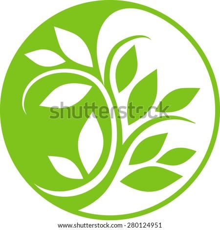 Yin Yang floral symbol - stock vector