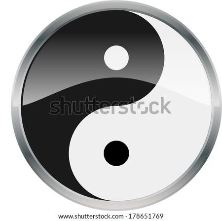 Yin Yang Glossy Shiny Symbol Vector Drawing eps10 - stock vector