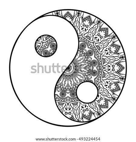 Yinyang Hand Drawn Symbol Circular Pattern Stock Vector