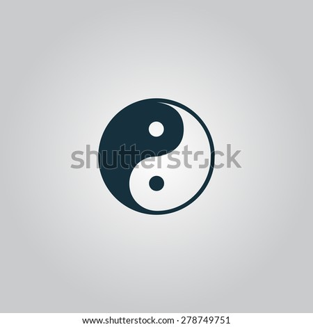 Yin-yang icon of harmony and balance. Flat web sign isolated on gray background. Collection modern trend concept design style vector illustration symbol - stock vector
