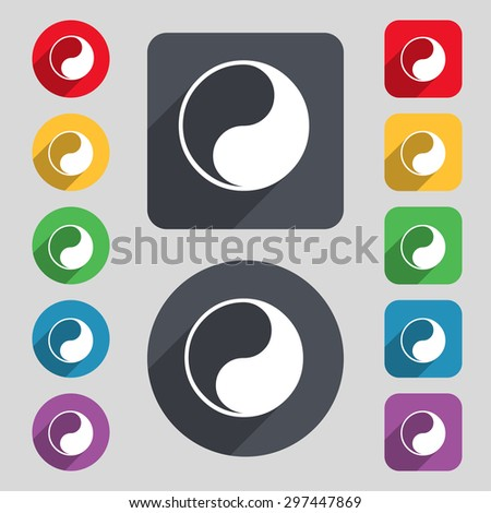 Yin Yang icon sign. A set of 12 colored buttons and a long shadow. Flat design. Vector illustration - stock vector