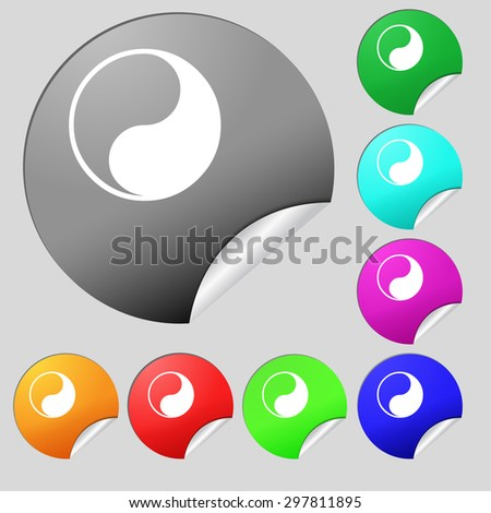 Yin Yang icon sign. Set of eight multi colored round buttons, stickers. Vector illustration - stock vector