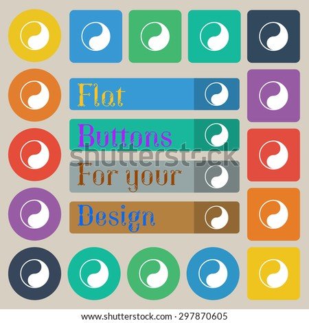 Yin Yang icon sign. Set of twenty colored flat, round, square and rectangular buttons. Vector illustration - stock vector