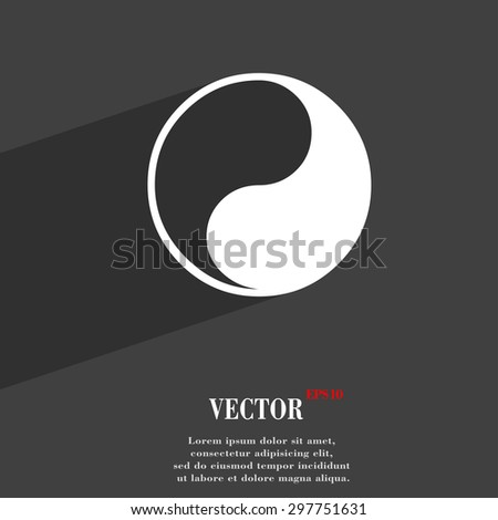 Yin Yang icon symbol Flat modern web design with long shadow and space for your text. Vector illustration - stock vector