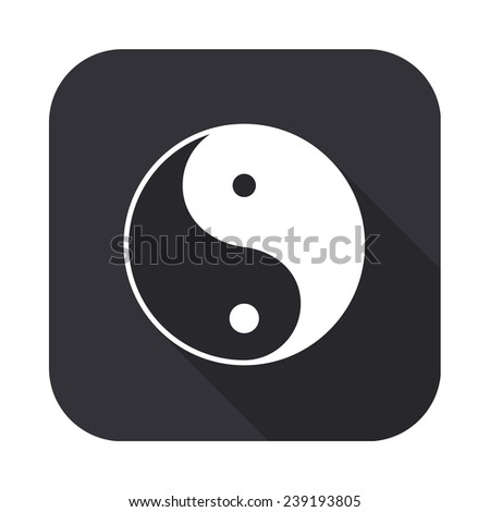 yin yang icon - vector illustration with long shadow isolated on gray - stock vector