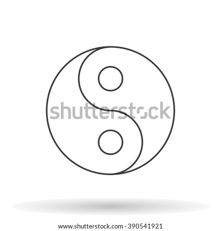 Yin Yang icon with shadow on a white background, vector illustration - stock vector