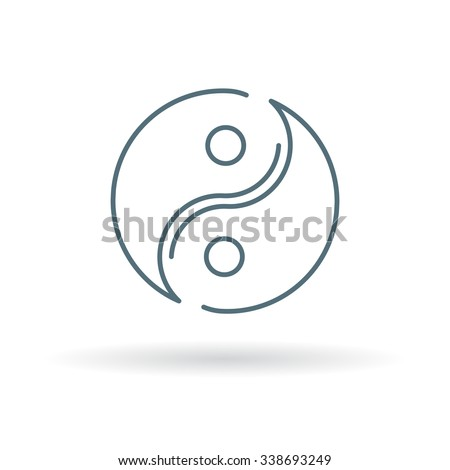 Yin Yang icon. Yinyang symbol. Thin line icon on white background. Vector illustration. - stock vector