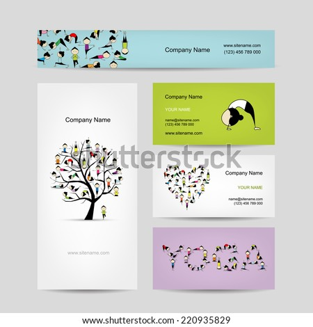 Yin Yang made from yoga asana. Set of business cards design - stock vector