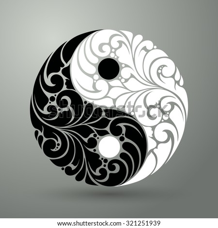 Yin Yang pattern symbol vector illustration  Ornate decorative isolated symbol - stock vector