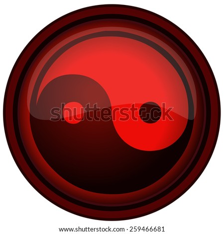Yin Yang round Red Sign, Vector Illustration isolated on White Background.  - stock vector