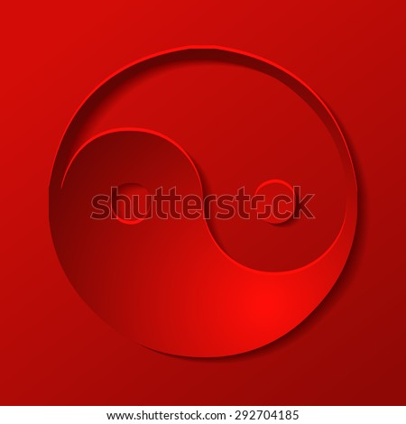 Yin Yang Sign on a Red Background, Vector Illustration. - stock vector