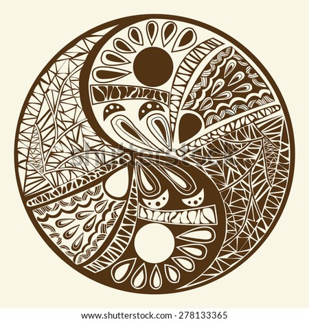 Yin yang symbol, asian decoration element Pattern on white Background. Yin Yang  tattoo for design Symbol vector illustration - stock vector
