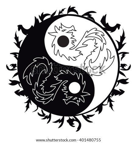 Yin yang symbol, asian decoration element Pattern on white Background. Yin Yang  tattoo with dragons for design illustration - stock vector