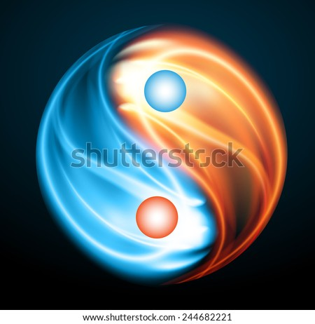Yin yang symbol. fire and ice, opposite, Heating, cooling - stock vector