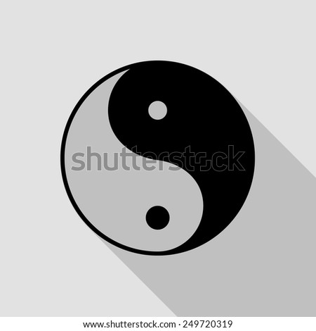 yin yang symbol icon - black illustration with long shadow - stock vector