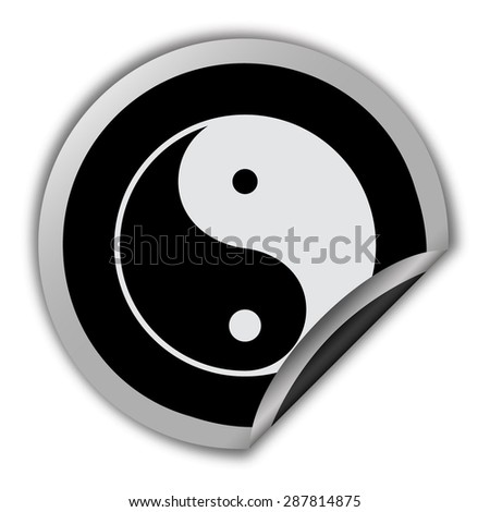 yin yang symbol icon - round vector sticker - stock vector
