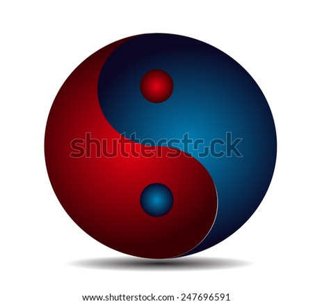 Yin Yang, symbol of harmony and balance red blue - stock vector