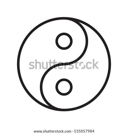 Yin Yang Symbol Outline Transparent Vector Stockvector 535057984