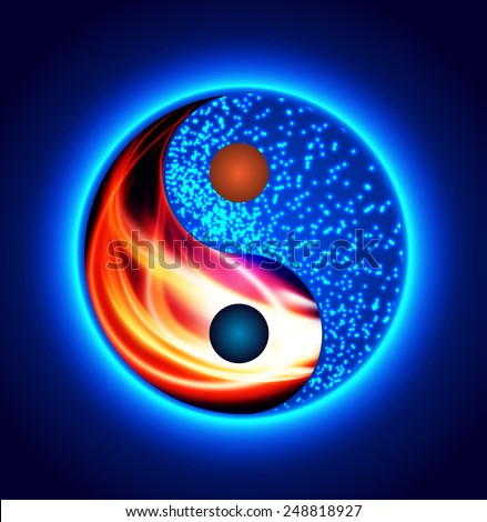 Yin Yang Symbol Red Fire Blue Stock Vector Hd Royalty Free