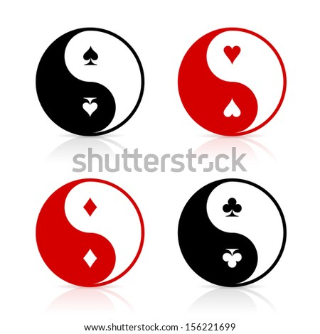 Yin-Yang symbol set with card suits. Card game fortune energy. Gambling chance and the power of luck. - stock vector