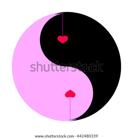 Yin yang vector eps. Yin yang vector logo. Yin yang love heart. Yin yang heart symbol. Heart shaped yin yang. Heart vector art. Heart vector image.  Two hearts over pink and black background.  - stock vector