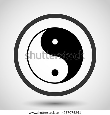 Yin yang vector icon - black illustration - stock vector