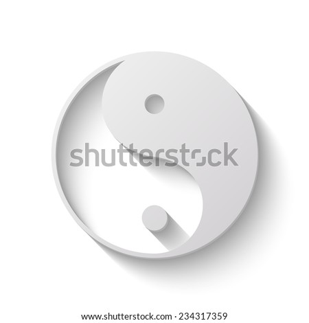 yin yang vector icon - paper illustration - stock vector