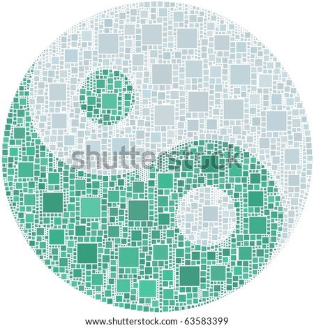 Ying Yang. A number of 4005 squares are inserted into the mosaic - stock vector
