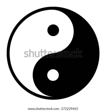Ying yang balance flat icon for apps - stock vector