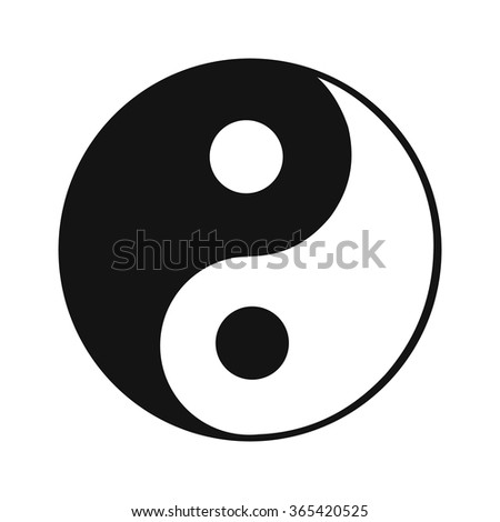 Ying yang black simple icon isolated on white background - stock vector